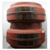 Two Chinese Wood Brush Pots