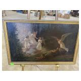 Late 19th century oil on canvas painting of angels