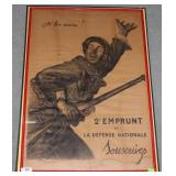 Framed, glazed & board mounted French WWI poster e
