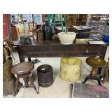 Seven drawer harvest table