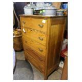 """Five drawer oak upright dresser 33"""" x 18"""" x 51.5"""""""
