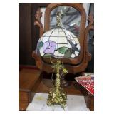 Contemporary Slag glass lamp with brass base