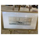 """Watercolor of ship at sea signed C.S.H. 28"""" x 15"""""""