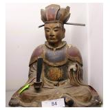 Early Wood Carved Seated Asian Figure Holding Fan