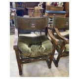 Early 20th Century Tudor style arm chairs with cru