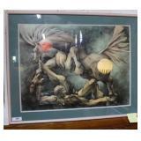 Abstract man & horse original framed & glazed, sig