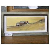 Petite oil on canvas of Vermont farm in rustic fra