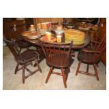 Hunt Furniture dining table with six slat back cha