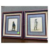 Pair of French soldier lithographs in red, white &