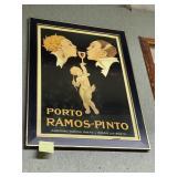 "Framed and glazed Porto Ramos Pinto poster 38"" x 2"