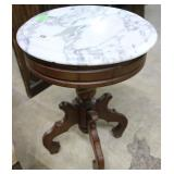 Contemporary Victorian Style Marble Top End Table