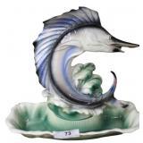 Mid-Century Ceramic Sailfish Table Lamp