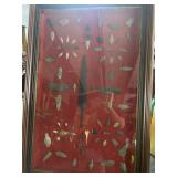 Framed shadowbox of arrowhead and points with cent