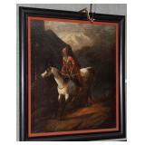 Framed 19th Century Mongolian rider in contemporar