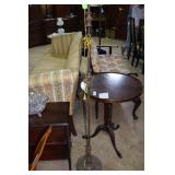 Cast metal floor lamp with  floral decorated base