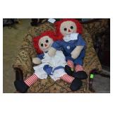 Vintage large raggedy Ann & Andy dolls