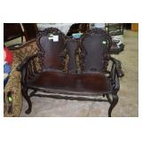 Antique Ornately Carved Victorian Oak Love Seat