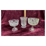 Cut Glass Vase & 2 Saw Tooth Bowls