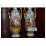 Pr. Austria vases, Very well decorated w/ lady &
