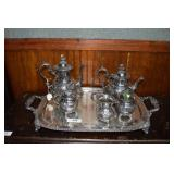 5pc. Hand Chased Silver Plate Coffee Service on
