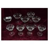 "9 Waterford Glenmore glasses: 5 cordials 5"" H &"
