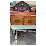 2 drawer pine table top file cabinet .Brass pulls