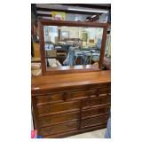 9 draw Pine dresser with mirror by Virginia Furn