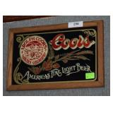 """Coors"" Beer Wood Framed Wall Plaque"