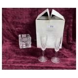 2 Marquis Waterford Goblets & Square Candy Dish