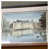Framed 33x27 print of castle on water edge