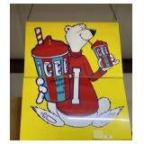 ICEE coldest drinks in town 2pc 2 sided painted