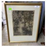 Framed art .Charcoal woods scene with birds in