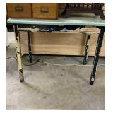Green metal top kitchen table.Wood frame & legs