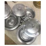 3 Hammered aluminum  covered  casserole  vessels