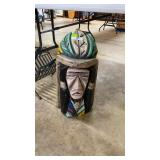 Hand carved & painted wooden Indian head nearly