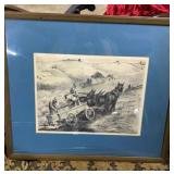 Artist signed etching of farmers in field signed