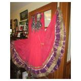 Formal India fuchsia full length Dress embroidered
