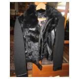 Jennyfer J Black mink &leather sweater jacket size