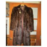 Full Length Mink Coat w/bakelite accents & Button