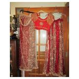 Red 3pc India Wedding set very heavy skirt top & w