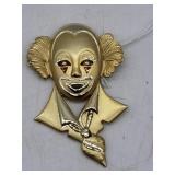 Metal Goldtone Clown Pin