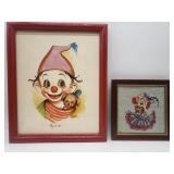 Vintage Dianne Dengel Print Clown w/ Puppy &