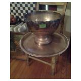 Silver Plated Punch Bowl Serving Tray