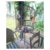 Antique Brass And Metal Bird Cage And Contents