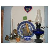 Blue Oil Lamp Plus Contents on shelf