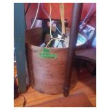 "Wood Round Bin. 12"" Tall. 14 1/2 Tall. Contents"