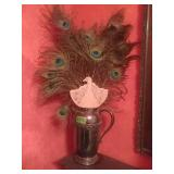 Silver On copper Pitcher With Peacock Feathers