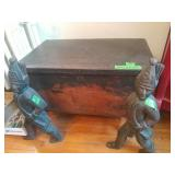 Cast Iron Soldiers Carrying Wood Box