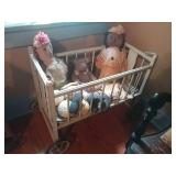 Antique rolling Cradle With Dolls