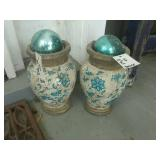 "(2) 10"" Tall Concrete Pots With Gloves"